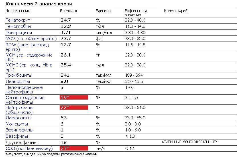 Атипичные мононуклеары в крови у ребенка: норма и причины повышения уровня