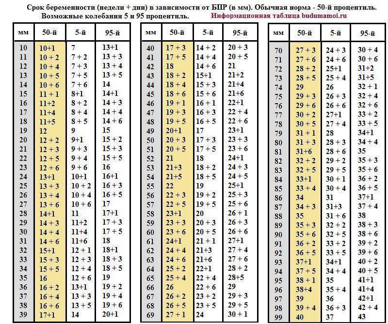 Параметры (размер,нормы) плода по узи по неделям - таблица узи