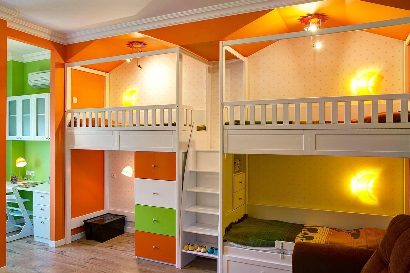 Дизайн детской комнаты для троих детей разного возраста: фото интерьера, варианты планировки | детская | vpolozhenii.com
