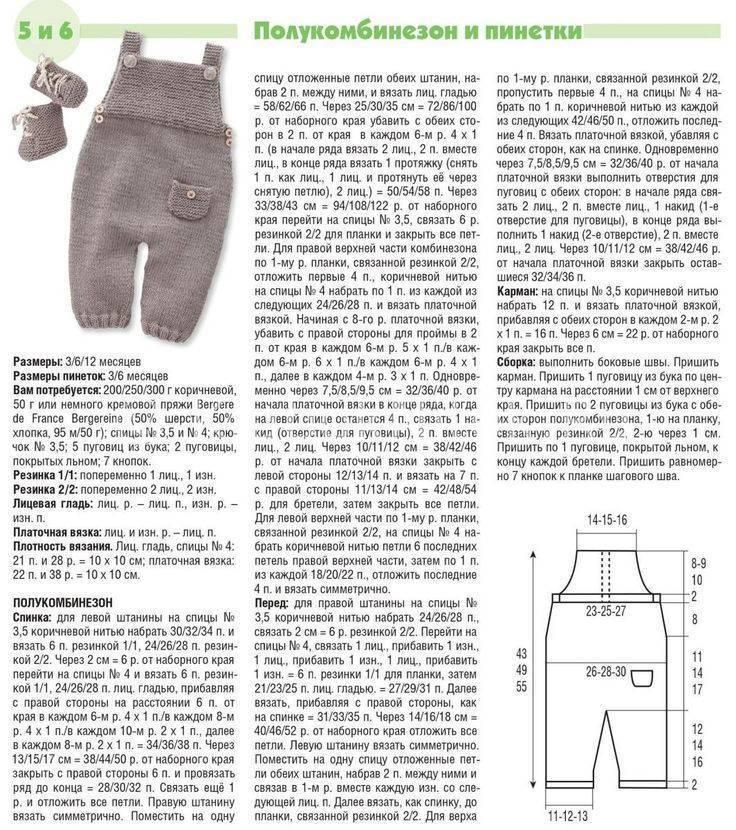 Комбинезон для новорожденных спицами. три схемы с описанием и выкройками