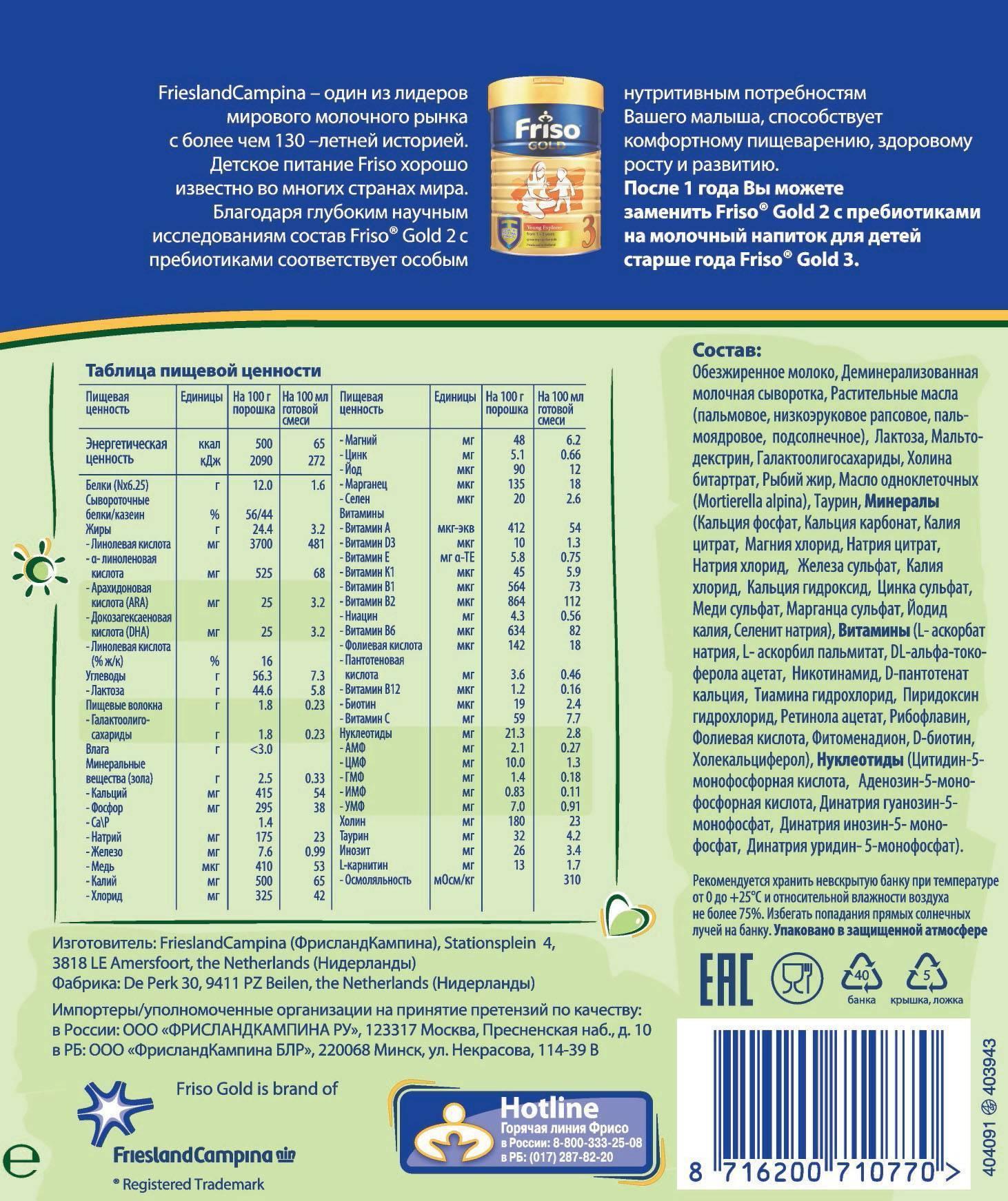 Фрисо голд (friso gold) 1-2-3-4. отзывы, инструкция по применению, где купить, состав, цена