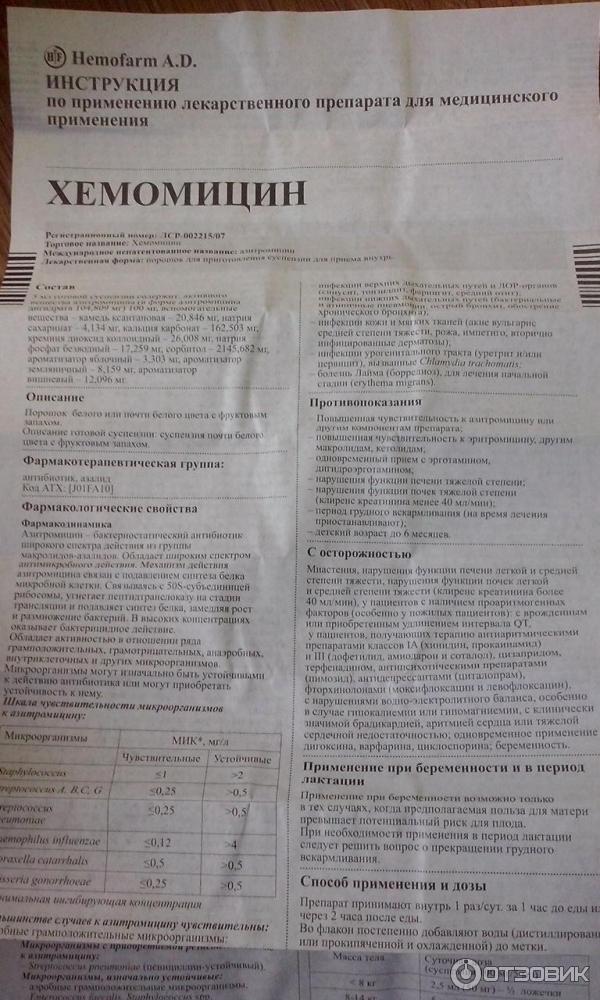 Хемомицин: инструкция по применению для детей, отзывы