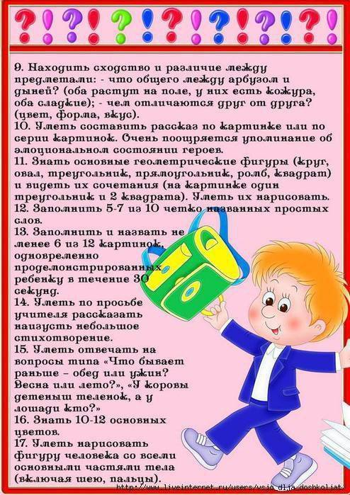 Что должен знать ребенок к 1 класс - список знаний и навыков, которыми должен обладать малыш, который пойдет в школу