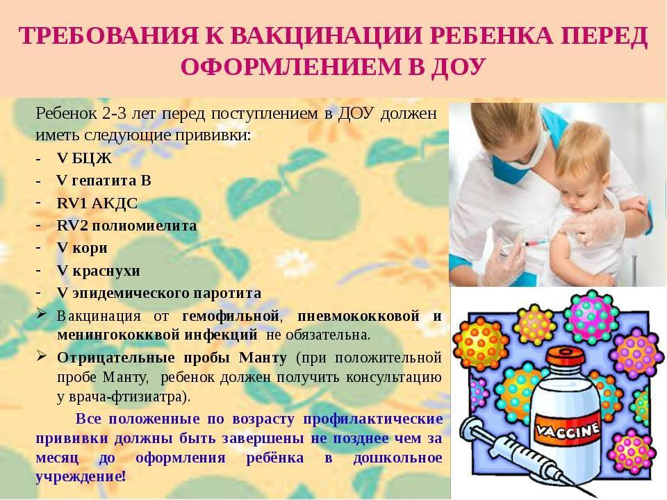 Какие прививки обязательно нужны для поступления в детский сад и возьмут ли ребенка без них?