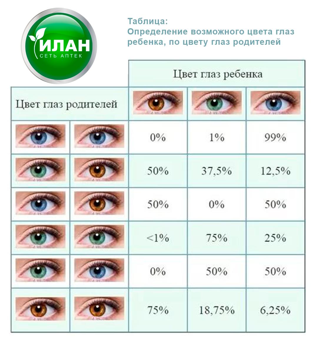 Цвет глаз у ребенка от родителей: таблица вероятности у новорожденных -  от чего зависит, как наследуется и до какого возраста меняется
