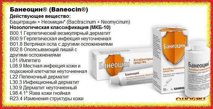 Банеоцин: описание и инструкция по применению и ограничения для детей