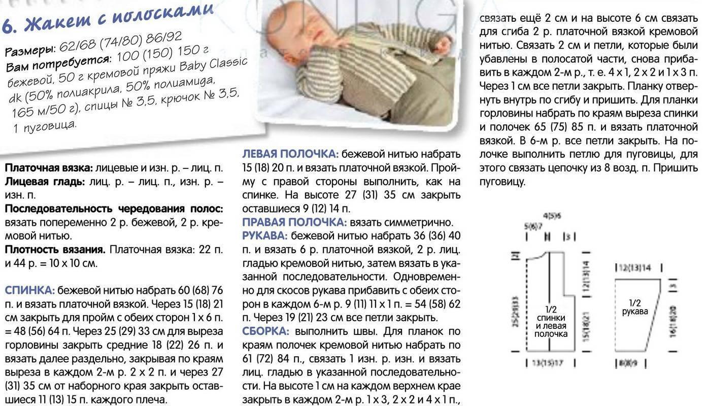 Кофточка для новорожденного спицами ? от 0-3 месяцев: описание и схема (реглан сверху)