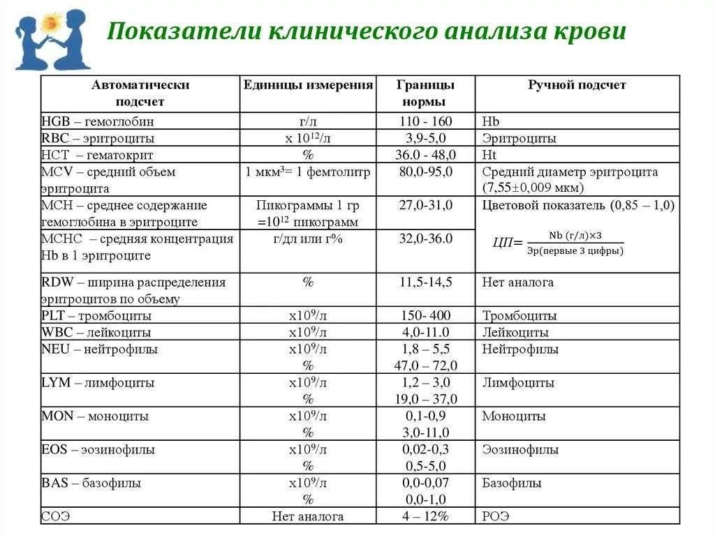 Общий анализ крови у детей – расшифровка всех показателей, таблица по возрасту