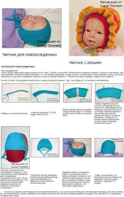 Шапочка для новорожденных спицами: схема и описание вязания для мальчика и девочки | все о рукоделии