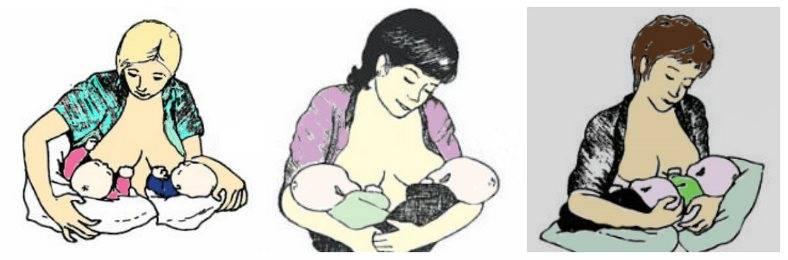 Позы для кормления новорожденных грудью: как кормить ребенка грудным молоком