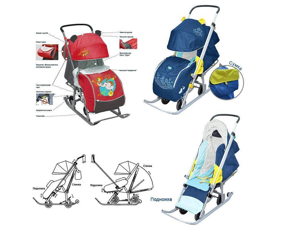 Детские санки-коляски: возраст использования и рейтинг самых лучших моделей