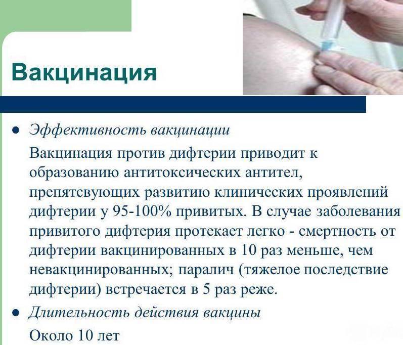 Реакция после прививки от дифтерии у взрослых и противопоказания