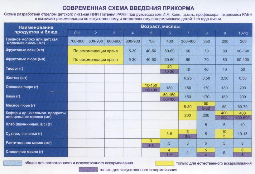 Первый прикорм ? при грудном вскармливании: схема с 3, 4, 5 и 6 месяцев (график)
