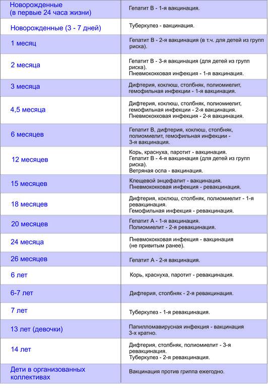 Прививки взрослым по возрасту: таблица и график вакцинации