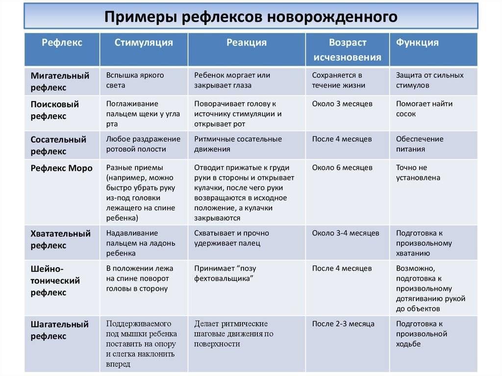 Рефлексы новорожденного: таблица, хватательный, сосательный, бабинского, бабкина, шаговый, робинсона