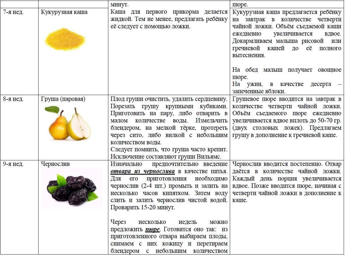 Прикорм ребенка в 6 месяцев: лучшие продукты и схемы введения при гв и ив
