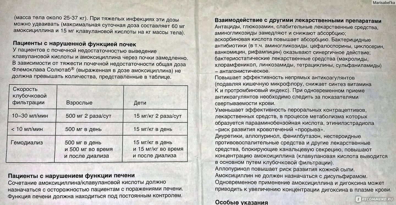 Флемоклав солютаб 500 мг, 250, 125: инструкция по применению