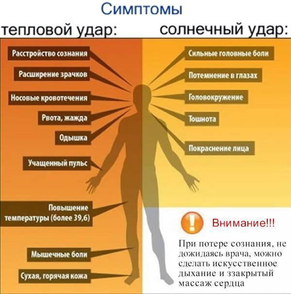 Тепловой удар: симптомы, первая помощь, профилактика