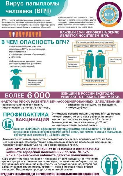 Прививка от впч: кому нужна, график вакцинации, осложнения