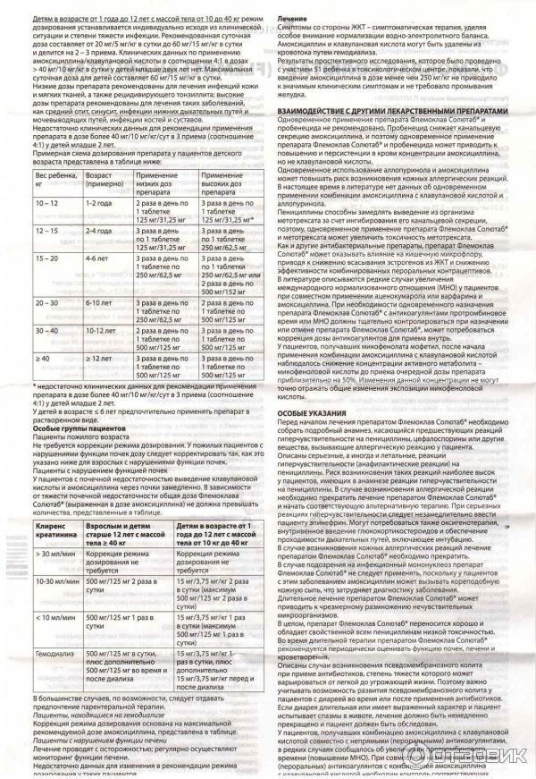 Флемоклав солютаб 125 и 250 мг для детей (инструкция по применению)