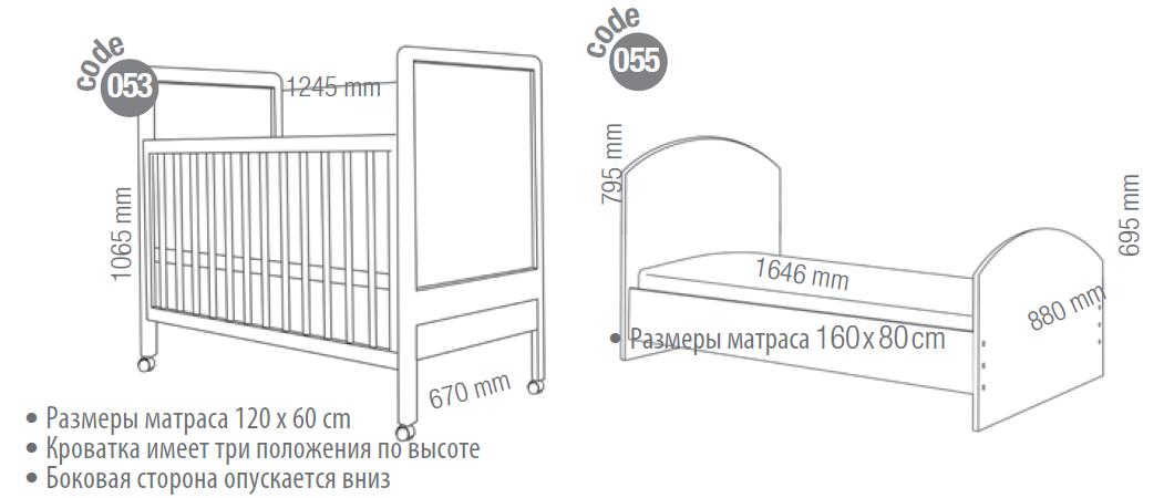 Размер матраса в детскую кроватку (стандартные и нет)