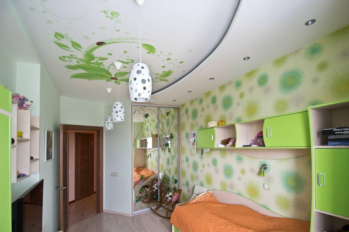 Натяжной потолок в детской: варианты оформления, монтаж, идеи