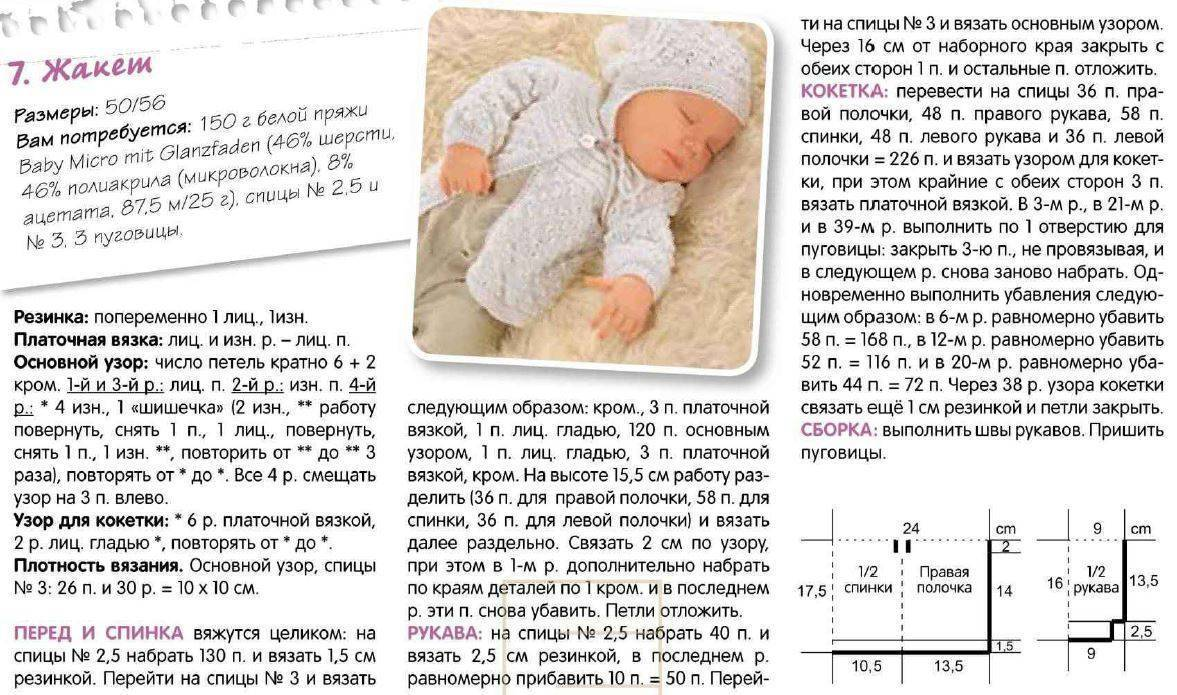Кофточка для новорожденного спицами от 0-3 месяцев: описание и схема (реглан сверху) | своими руками | vpolozhenii.com