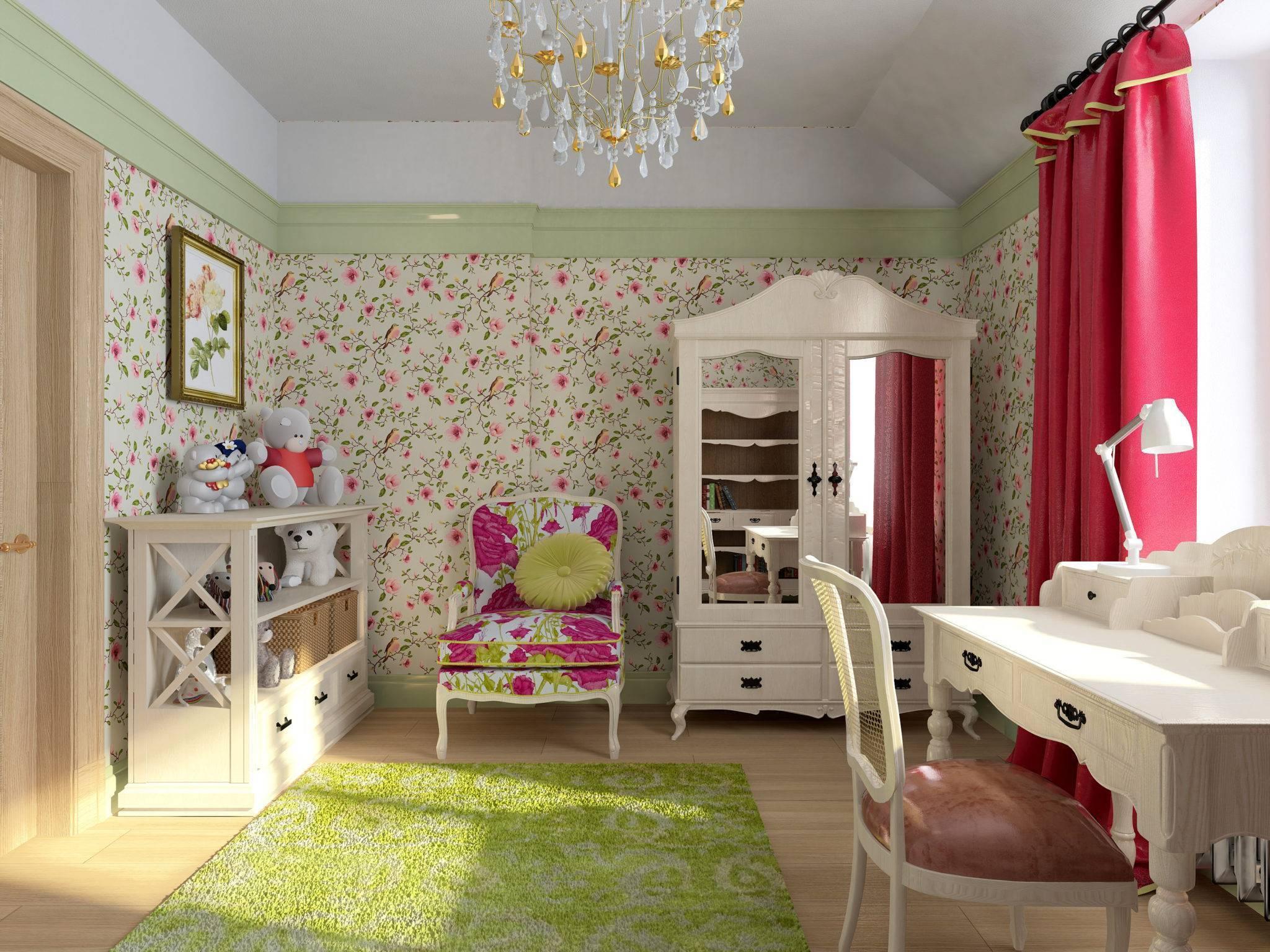 Обои для детской комнаты для девочек: фотообои и комбинирование материалов