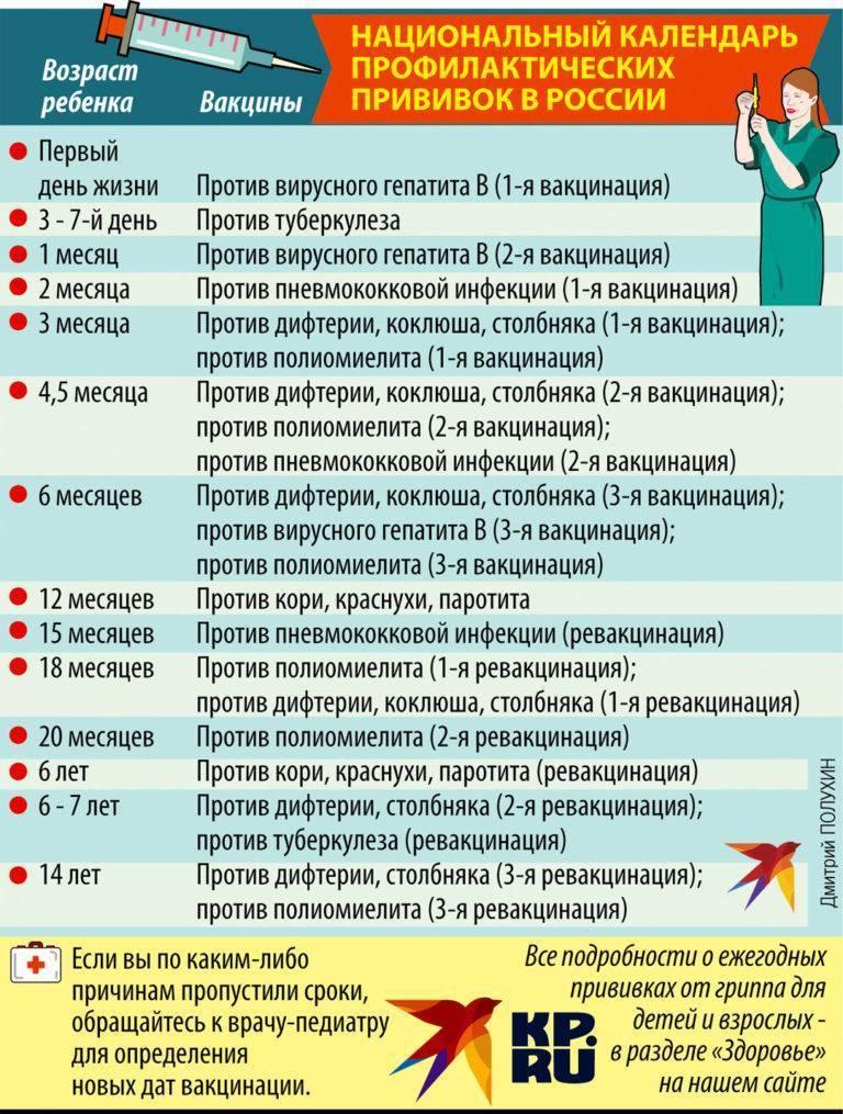 Прививки детям до 1 года, когда ставить, календарь вакцинации детей