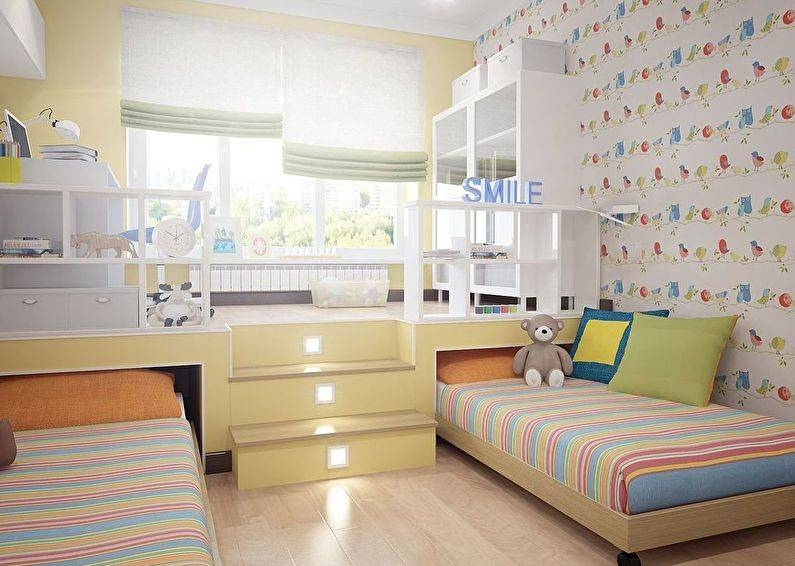 Комнаты для двоих разнополых детей: 70 фото