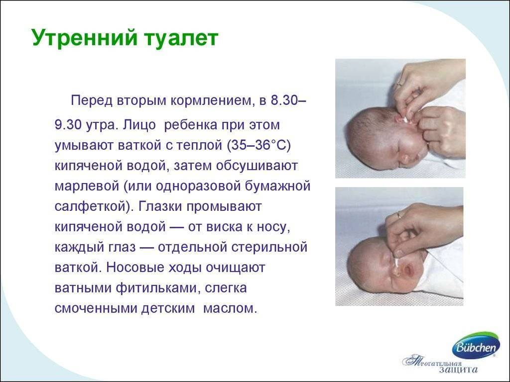 Утренний туалет новорожденного: алгоритм в домашних условиях