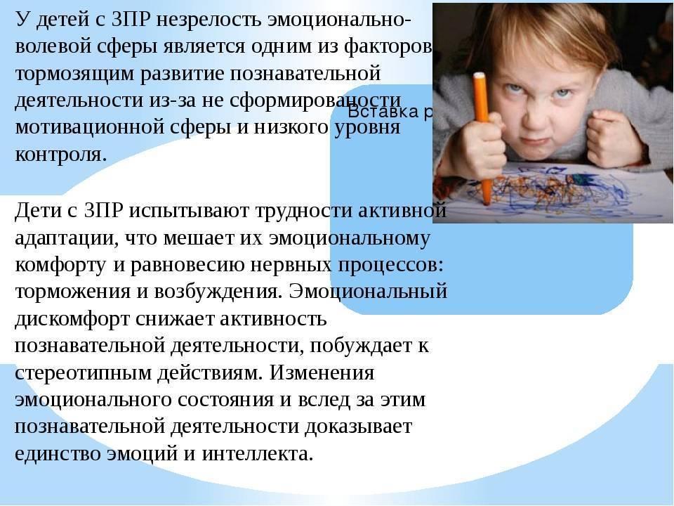 Специфические особенности детей с зпр