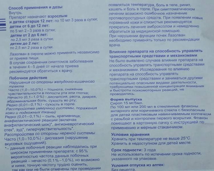 """Детский """"Лазолван"""": инструкция по применению сиропа, раствора и таблеток для детей"""