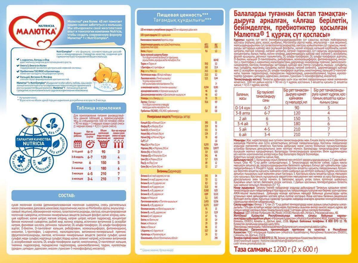 """Смесь для новорожденных """"малютка"""": состав, виды детского питания и инструкция по применению. детская молочная смесь малютка пропорции малютки от 6 до 12"""
