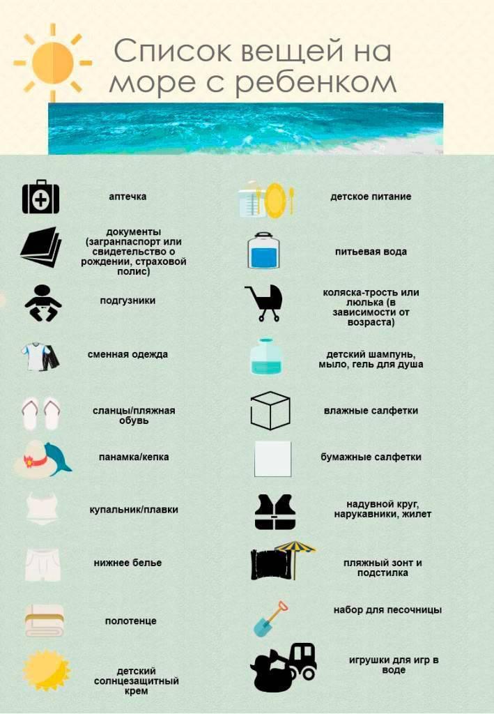Что взять с собой на море: список вещей с детьми 2-3 лет в отпуск