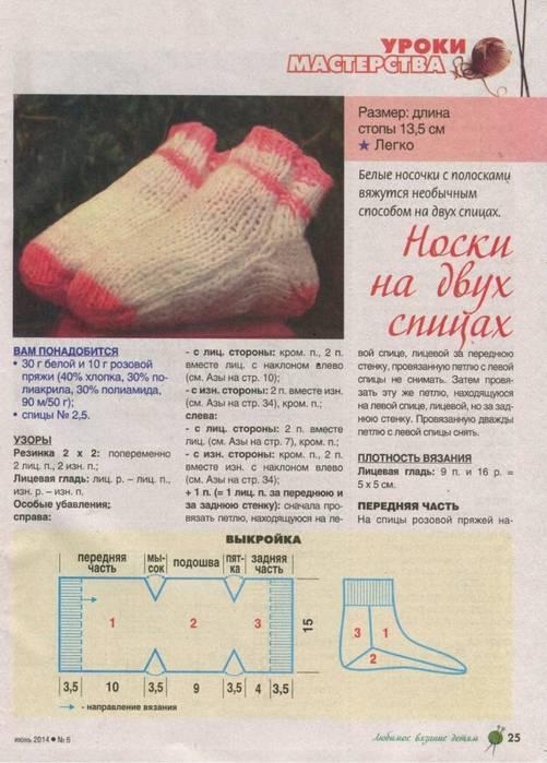 Детские носки спицами для начинающих:мастер-класс по вязанию