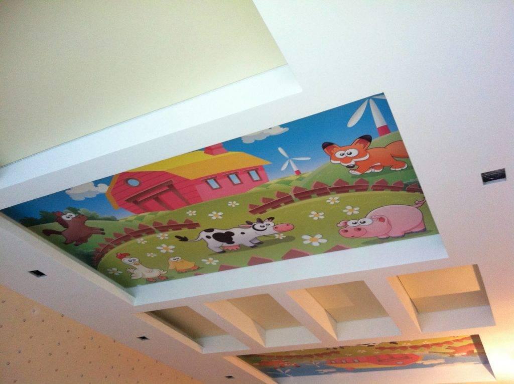 Потолок в детской комнате: натяжной, из гипсокартона, двухуровневый, с фотопечатью и другие