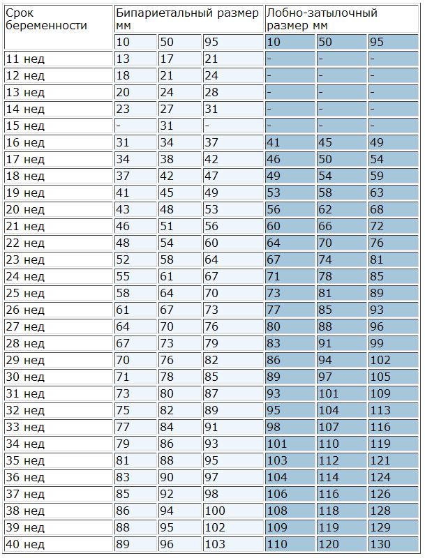 Бпр плода по неделям: таблица нормы, соотношение лзр с бипариетальным размером головки, почему показатель не соответствует сроку