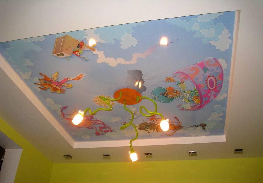 Потолок из гипсокартона в детской комнате (62 фото): спальня для для мальчика