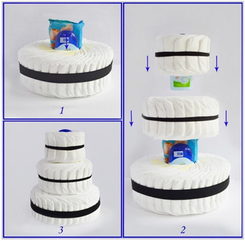 Как сделать торт для новорожденного из памперсов