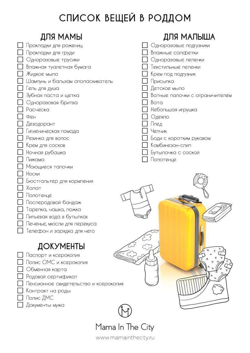 Список вещей в роддом для мамы и малыша: что нужно брать новорожденному