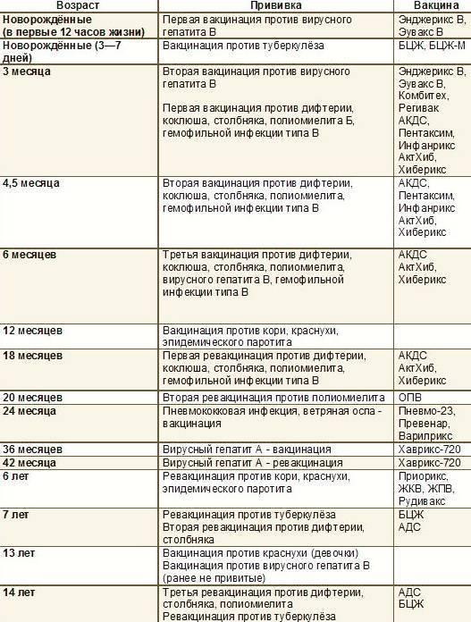 Акдс прививка: график вакцинации, когда и сколько раз делают детям