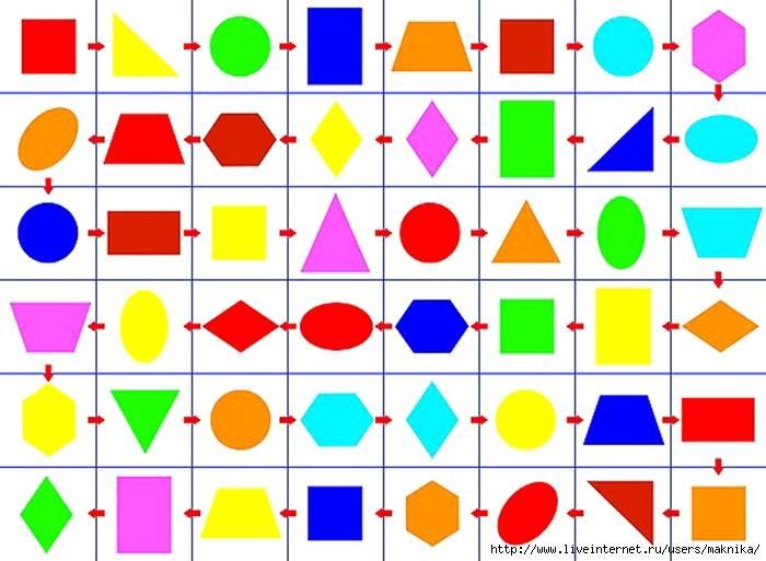 Рисунки из геометрических фигур - задания в картинках и раскраски