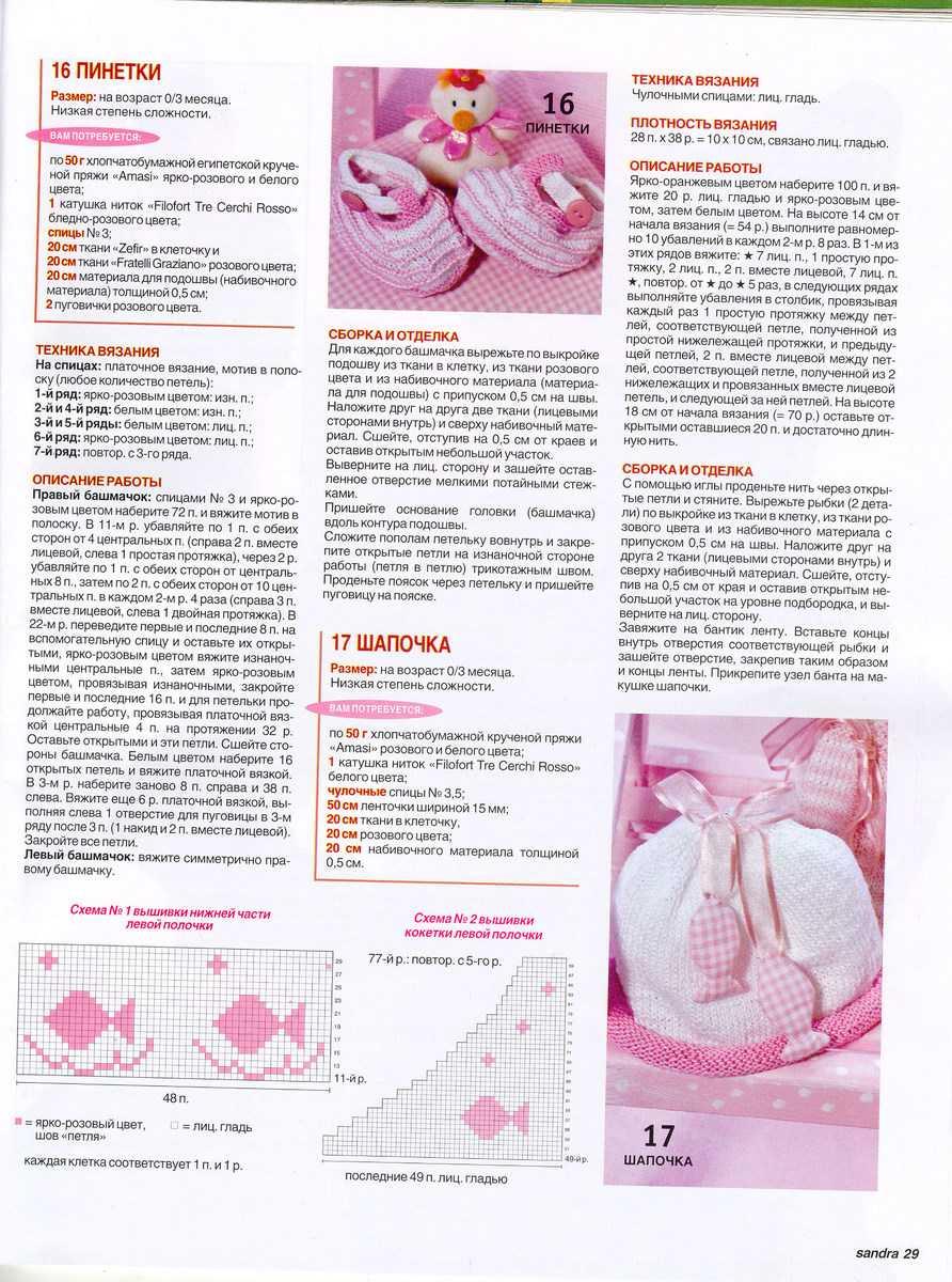 Схемы и описание вязания пинеток спицами для новорожденных