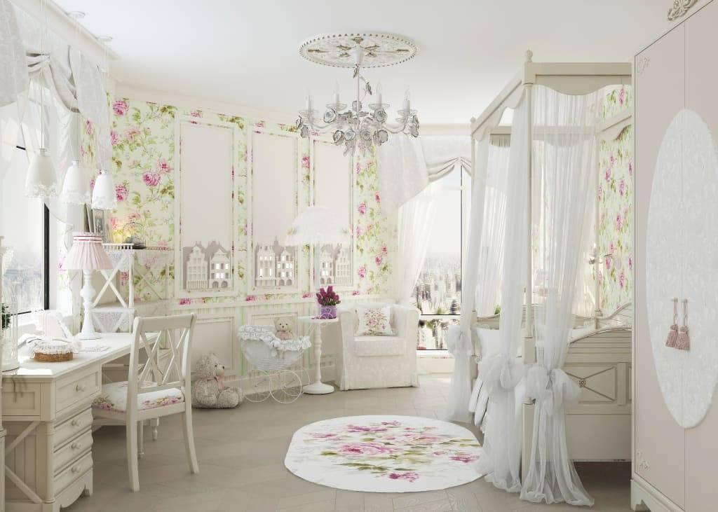 Дизайн интерьера детской комнаты в стиле Прованс для девочек разного возраста