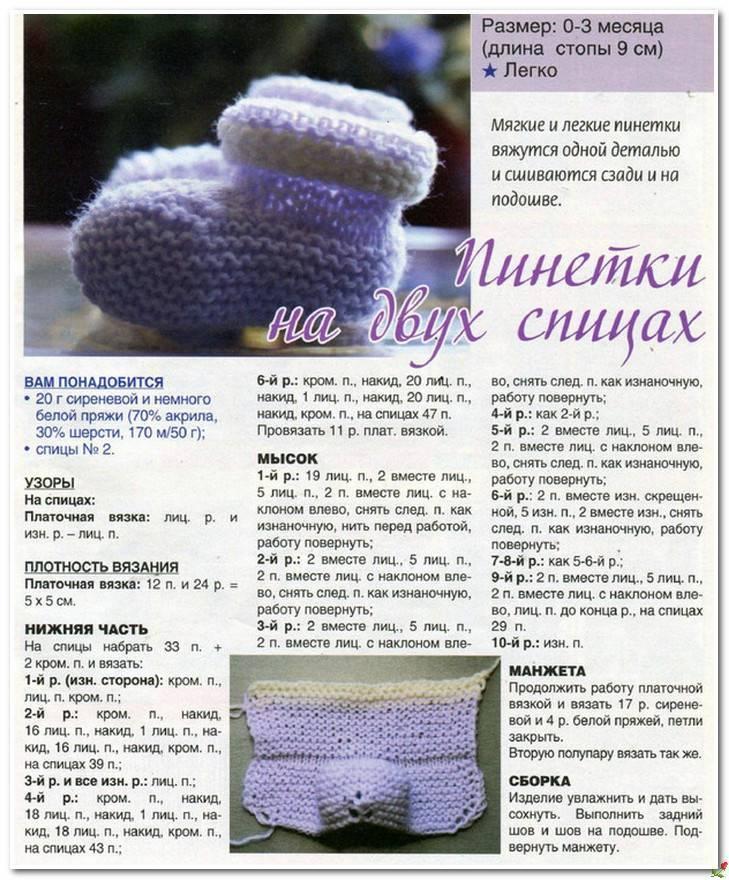 Носочки для новорожденных спицами: схемы вязания от 0 до 2 месяцев с пошаговым описанием | своими руками | vpolozhenii.com