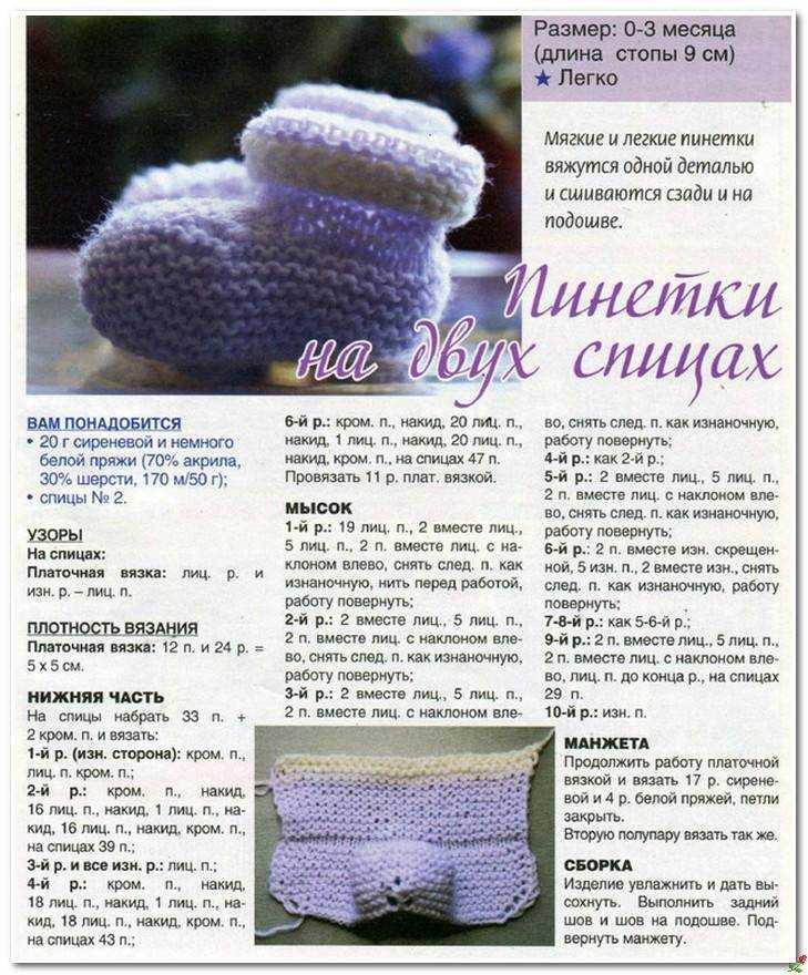 Пинетки для новорожденных спицами и крючком: схемы + 130 фото