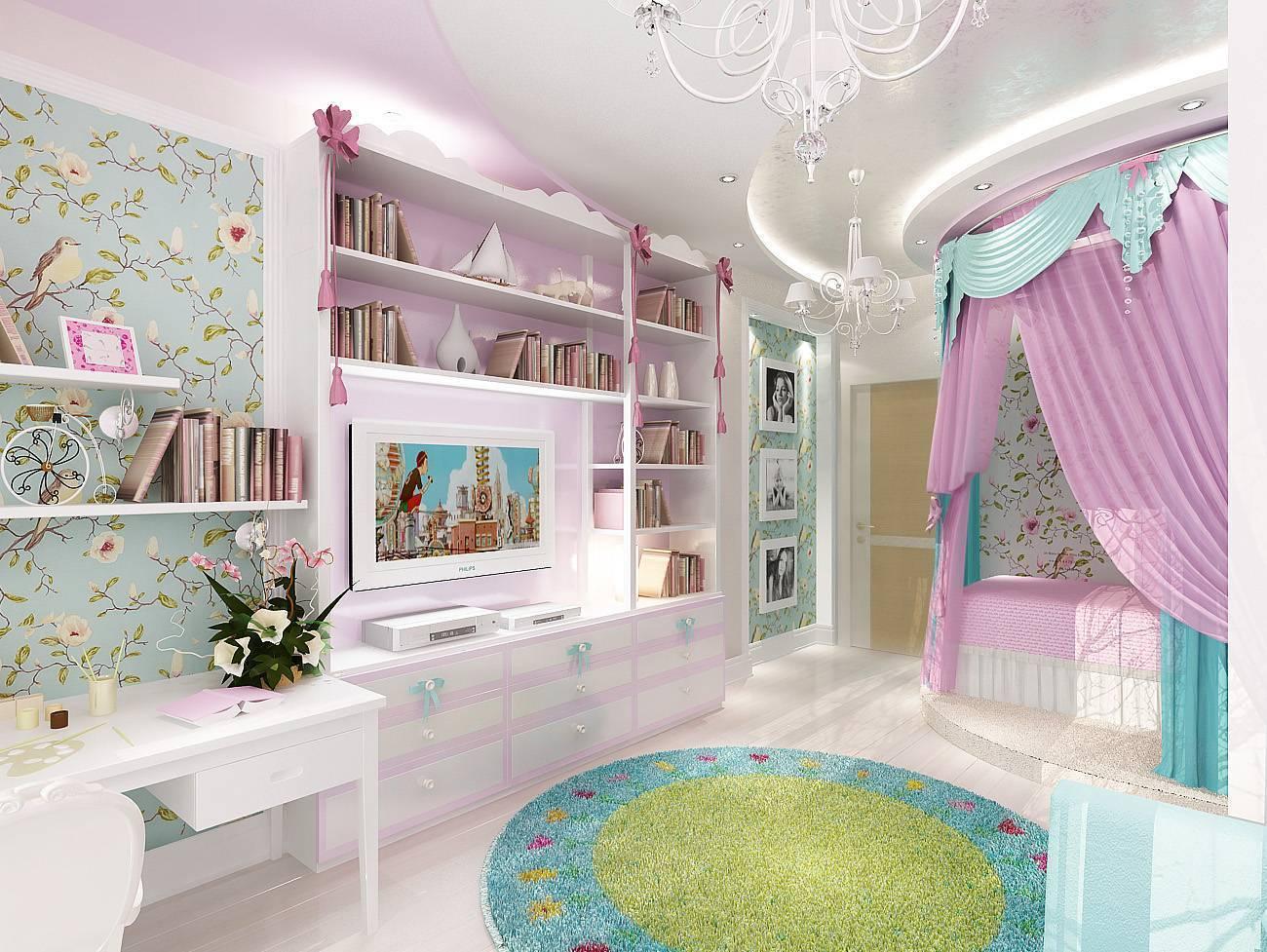 Комнаты для девочек 9, 10, 11 лет — выбор мебели и отделки, фото интерьеров