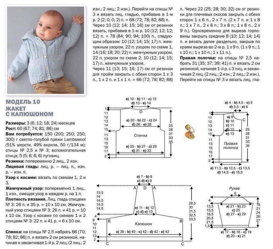 Вязание спицами для детей от 1 до 3 лет – схемы и описание процесса
