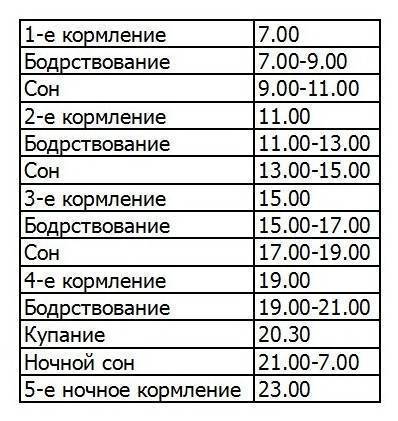 Распорядок дня грудничка по месяцам: режим кормления, сна ребенка до года (таблица)